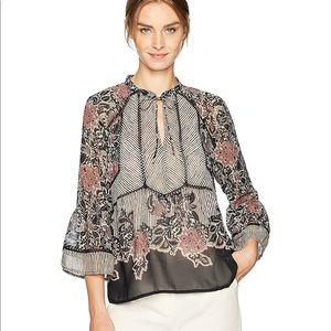 Lucky Brand Mix Print Bell Sleeve Floral Shirt
